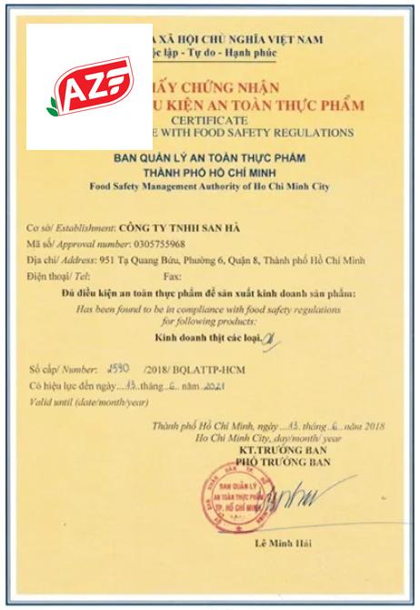 Mẫu giấy an toàn thực phẩm của Ban ATPP Bộ Nông Nghiệp