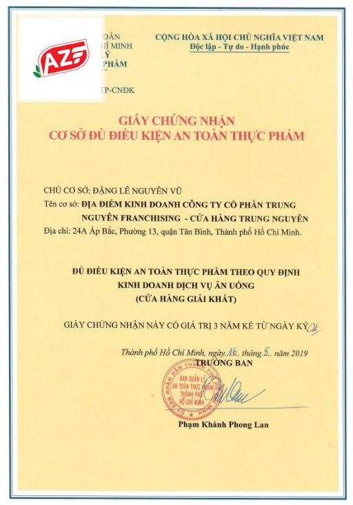 Mẫu giấy an toàn thực phẩm của Ban ATPP Bộ Y Tế