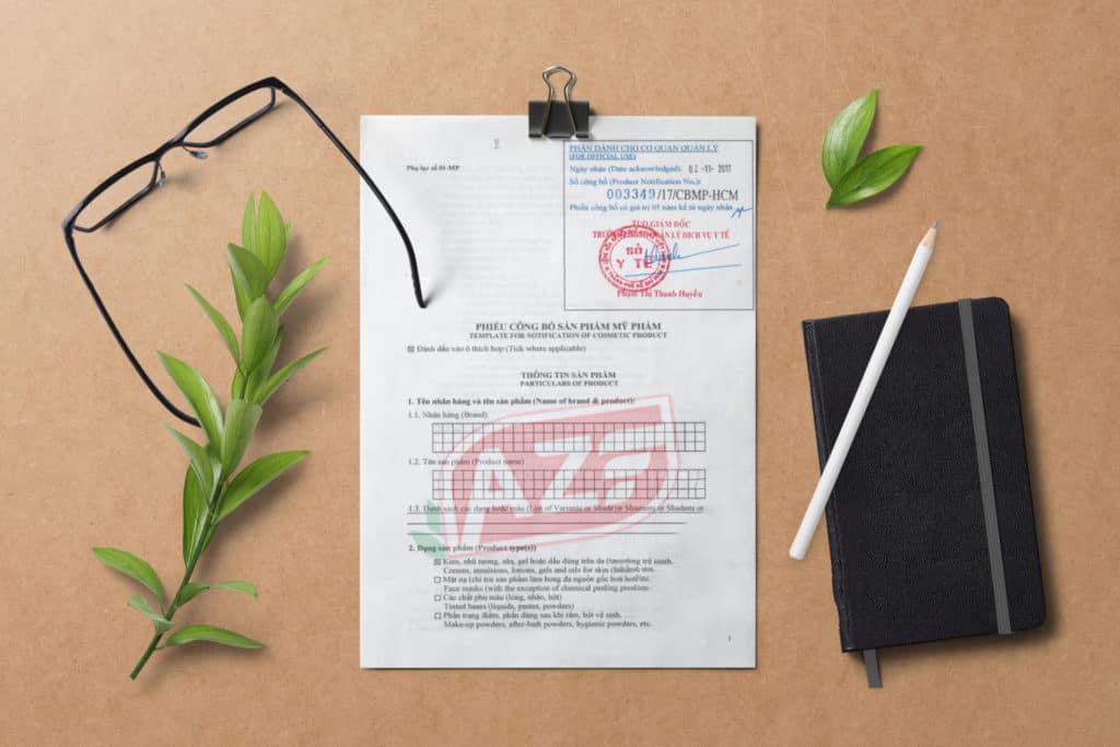 Mẫu công bố mỹ phẩm AZF thực hiện cho khách hàng